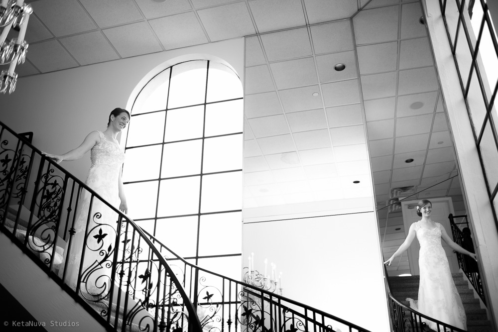 Perona Farms Wedding Bride coming down stairs