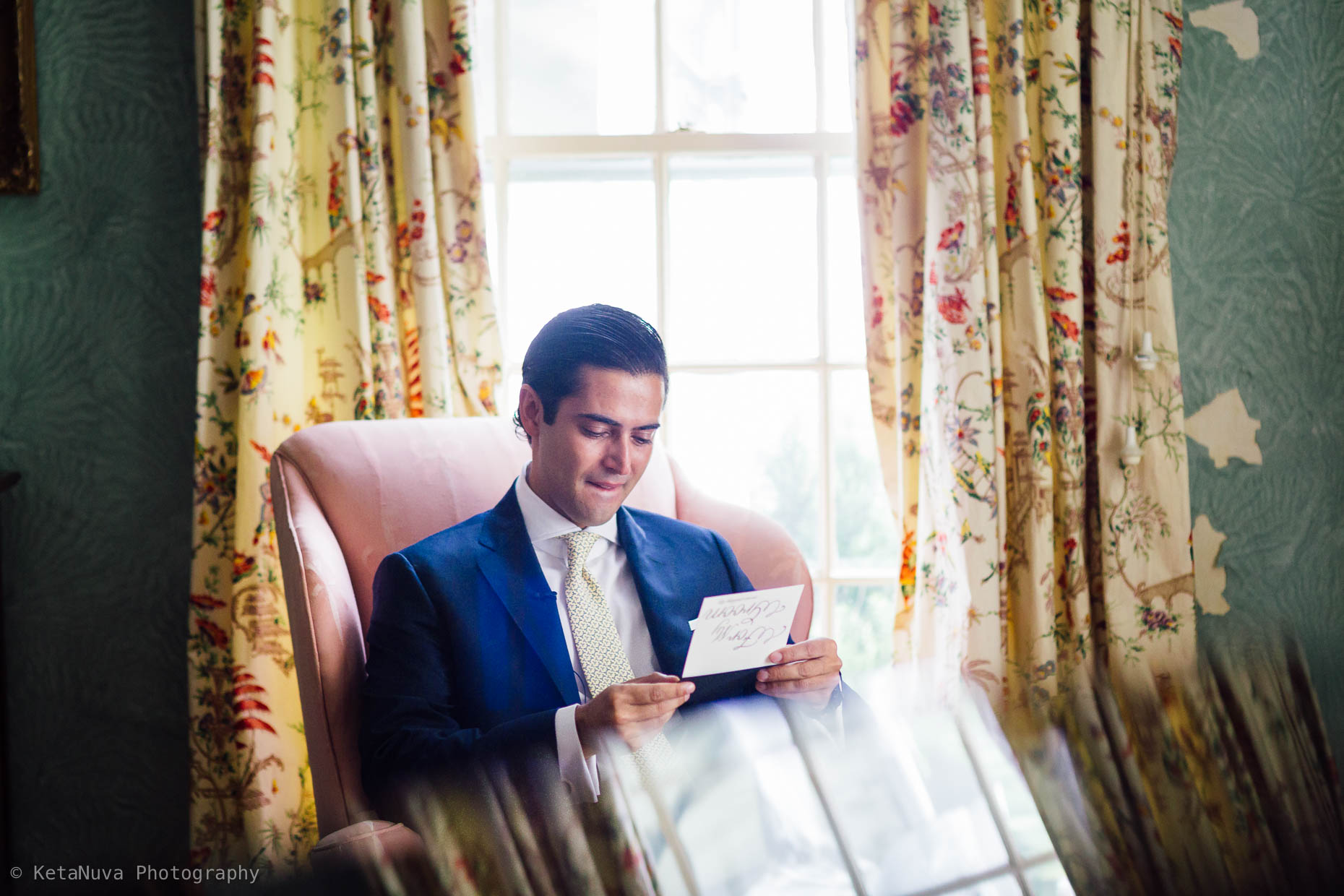 "Groom reading letter from the bride - Hudson valley wedding. "" width=""1860"" height="